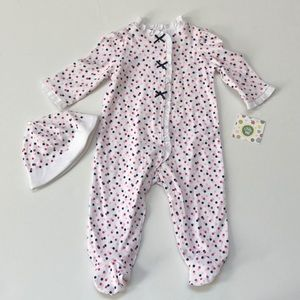 Little Me polka dot bow footie and hat